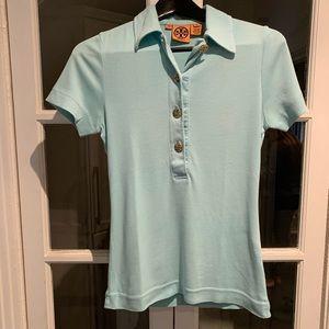 Tory Burch short sleeve light blue top. Size XS
